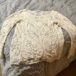 White lace long sleep top